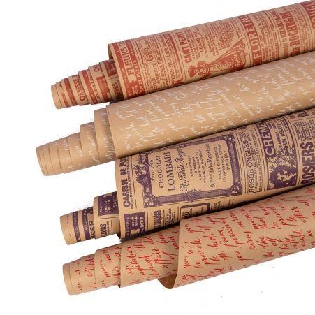 Бумага в рулоне Крафт 70см*8-9м с рисунком одноцветная печать (И,У)(78г/м2)