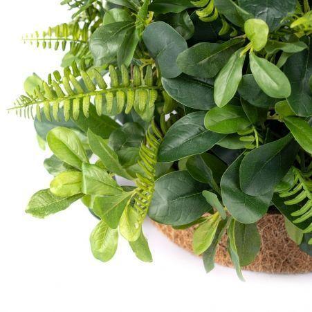 Композиция цветочная зелень в кокосовом круглом боксе(з) d60. h-6см(бокса)
