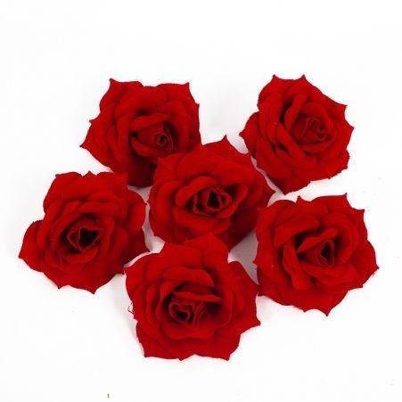 406/0071В Голова розы бархатная красная (6шт/уп)
