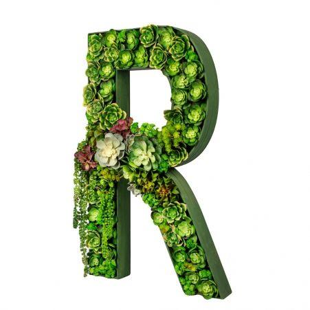 """БУК R04 Декоративная Буква """"R"""" с суккулентами 48*8*h88"""