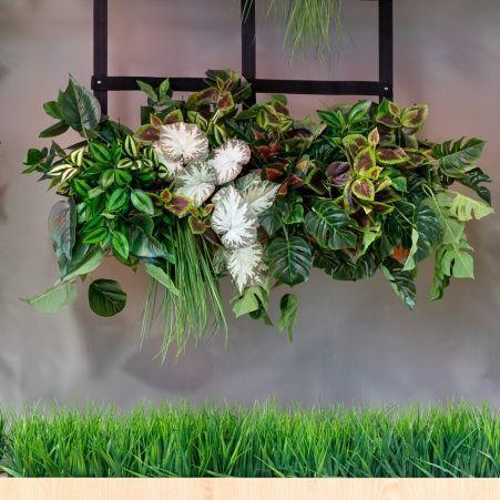К333(з.) Микс из растений h30см(латекс) в трубе ПВХ (70хd16см) на подвесных ремнях