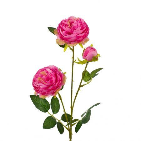 7141/0044-4/1Р Роза пионовидная искусственная  h 64см розовая (2г.1б.)