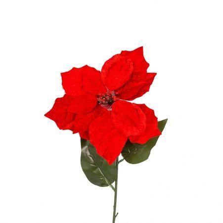 11/1162C Пуансетия красная бархатная h76см
