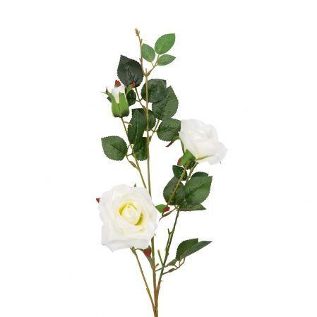 401/1116-23C Роза ветка d7; h78см (белая)(2 головы+бутон)