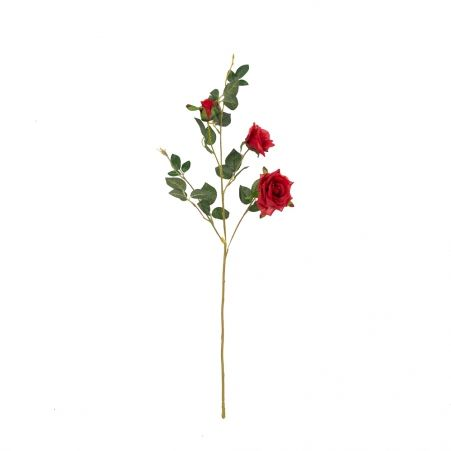 401/1116-2C Роза ветка h78см (красная)(2 головы+бутон)