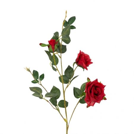 401/1116-2C Роза ветка d7; h78см (красная)(2 головы+бутон)