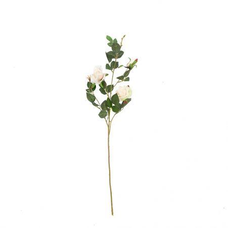 401/1116-4C Роза ветка h78см (кремовая)(2 головы+бутон)
