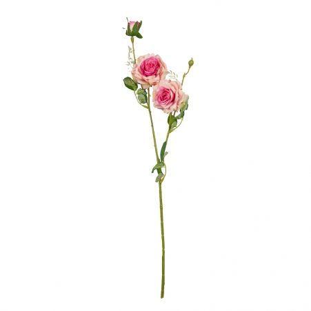 401/0055-1В Роза ветка h65см (розовая)(2гол+бут.)