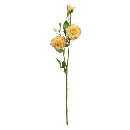 401/0055-3В Роза ветка h65см (желтая)(2гол+бут.)