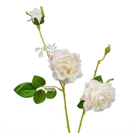 401/0055-20В Роза ветка h65см (бело-розовая)(2гол+бут.)