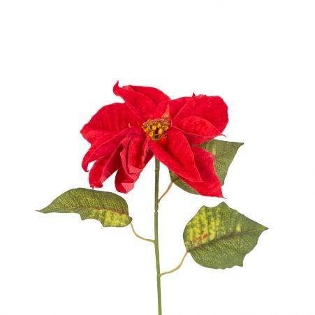 401/0171В Пуансетия h85см(бархатная) красная