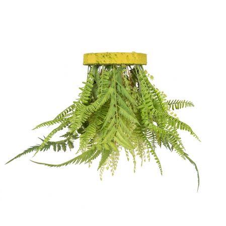ВМ13(з.) Вставка подвесная d17см микс из папоротников(силикон) с ампельными растениями
