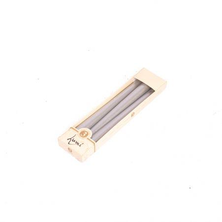 Свеча Античная LUMI h245мм (мет.серебро) (3шт/уп)
