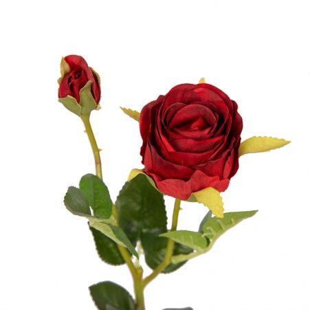 401/0214-2B Роза ветка h44см (красная)(1гол+1бутон)
