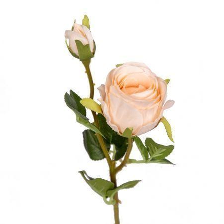 401/0214-4B Роза ветка h44см (кремовая)(1гол+1бутон)
