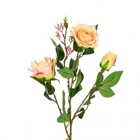 401/0008-4L Роза ветка h80см (кремовая)(2гол+1бутон)