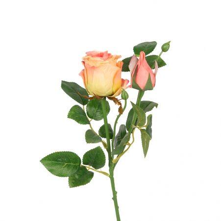 7141/9182-3/13Р Роза ветка 55-60см (персиковая)(1 голова+ 1 бутон)