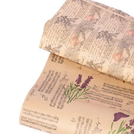 Бумага в рулоне Крафт 70см*10м с рисунком многоцветная печать(60г/м2)(М)