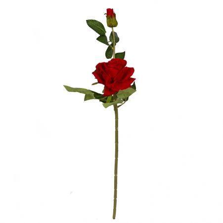 401/0213-2B Роза бархатная h55см (красная) 1гол. 1бут