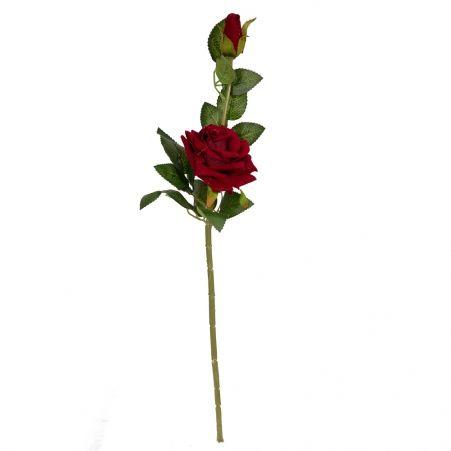 401/0213-17B Роза бархатная h55см (бургундский) 1гол 1 бут