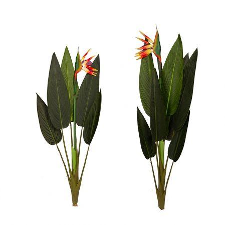 7143/0418-12 Стрелиция куст с цветком из 2-х (h112см-8л,1цв;h90см-6л,1цв)(Б)