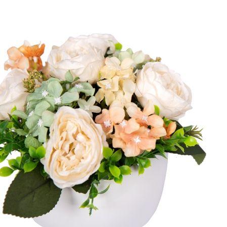 КС24-5(з.) Роза с гортензией в декоративном кашпо d15см