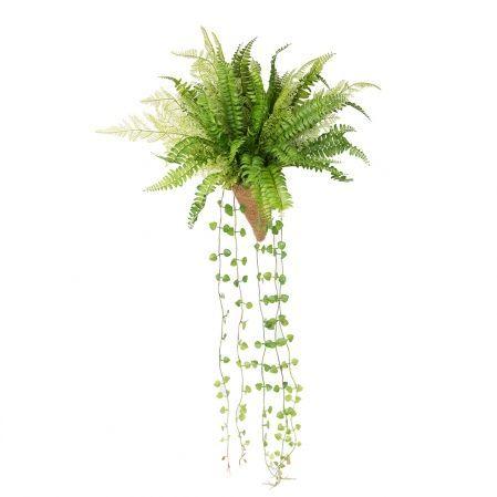 КН15-3/2(з) Папоротник ампельный h23см(силикон) в кокосовом конусе d11;h15см
