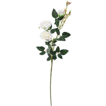 7141/А2783-01/23 Роза велюр белая h98см (2гол+1бут)