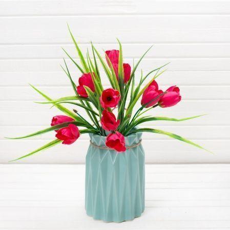 7142/0016-3Р Букет тюльпанов искусственный h-36см (5ч+10г)