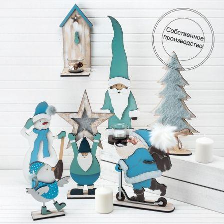 """807/056-2 Декор """"Дед Мороз с лампочкой"""" голубой (14,5*45см)"""