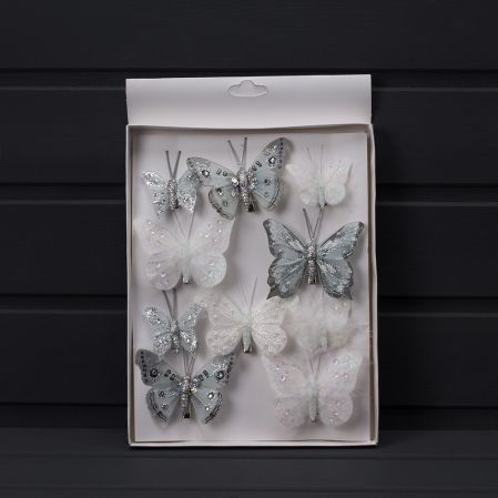 11/1170С Бабочки с блёстками на клипсе (10шт/уп)